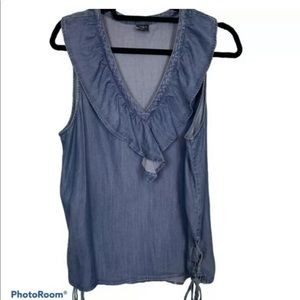 Ethereal, Chambray Top with Ruffle V-Neckline. L.